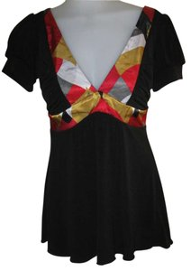 XOXO Top Black with Red & Gold pattern