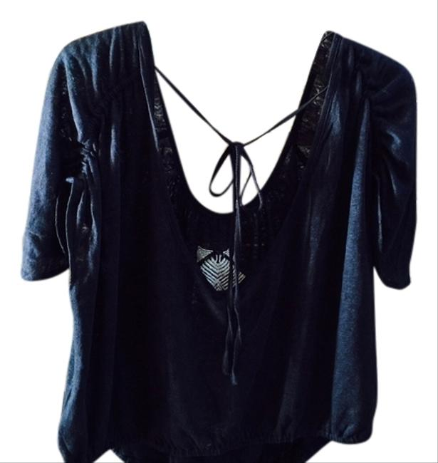 Free People Ponce De Leon Butterfly Sleeve Black Adorable Top