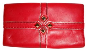 Gianni Bini Studs Metallic Trim red Clutch