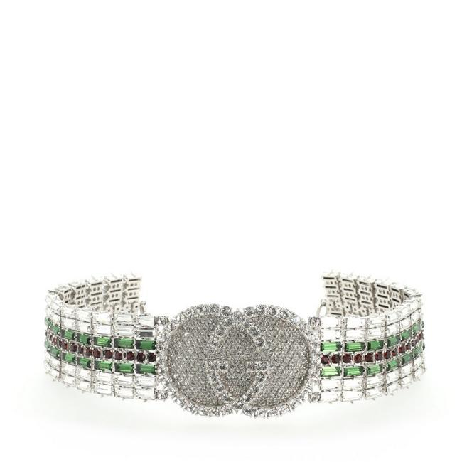 Item - Green Multicolor Red Silver Interlocking Gg Tennis Choker Metal with Crystals Wide Necklace