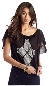 Free People Ponce De Leon Butterfly Sleeve Sz Xs Black Top