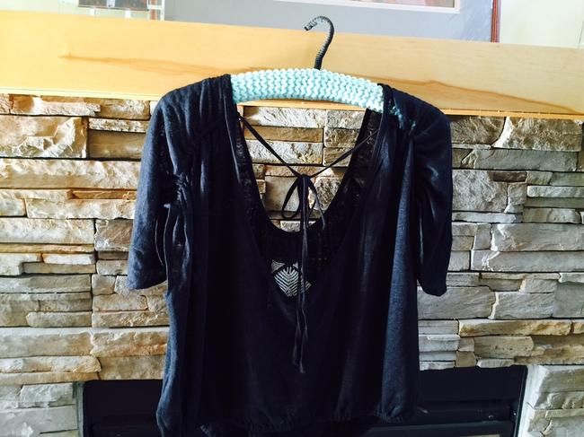 Free People Ponce De Leon Butterfly Sleeve Xs Black Top
