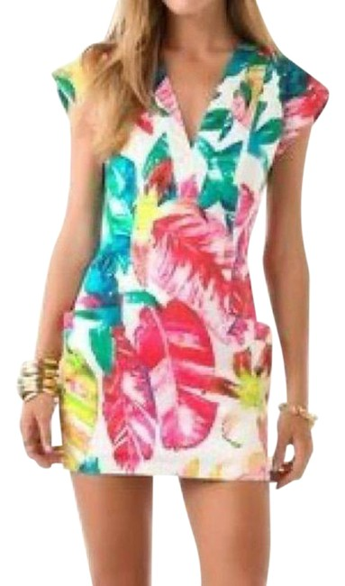 Item - White Tropical Palms Short Casual Dress Size 2 (XS)