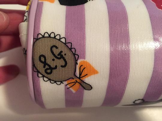 Lulu Guinness Lulu Guinness Lavender and White Striped Cosmetic Bag