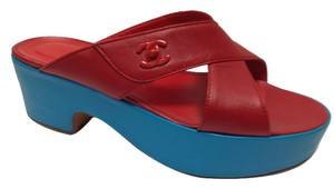 Chanel Soft Leather Italy Stunning Chic Classic Eclectic Red and Blue Wedges