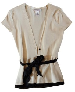 White House | Black Market Satin Top cream and black