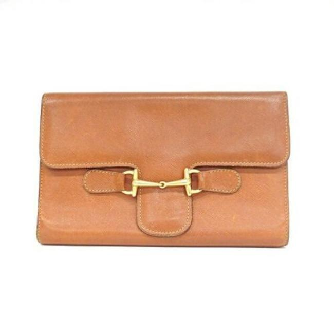Item - Tri-fold Style with Wallet Camel Leather/Gold Horse-bit Clutch