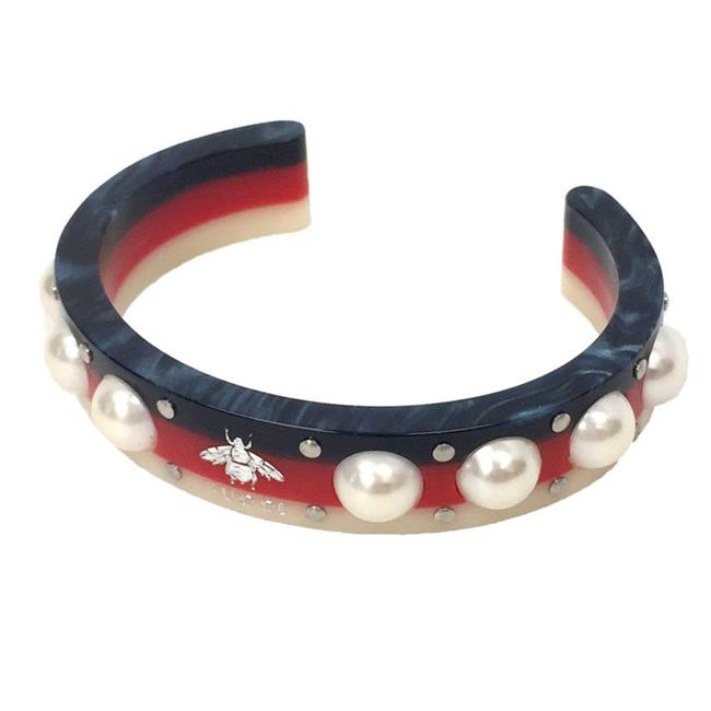 Item - Blue / Red Color / White XS Pearl Cuff Bangle Size Bracelet