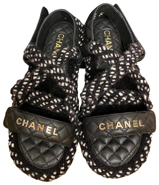 Item - Black White 21a Dad Cord Rope Quilted Gold Cc Logo Mule Slide Strap Flat Sandals Size EU 37 (Approx. US 7) Regular (M, B)