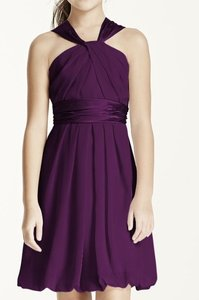 Plum Bubble Hem Crinkle Chiffon And Charmeuse Dress Dress