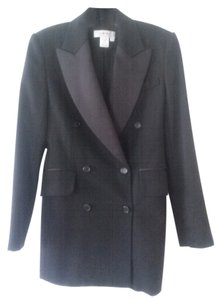 Isaac Mizrahi Double Breasted 100% Wool black Blazer