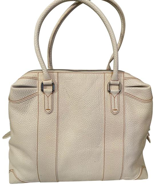 Item - Grained Large Mix Tote Off White Calfskin Leather Satchel