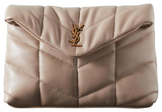 Item - Monogram Loulou Ysl Puffer Small Pouch In Quilted Lambskin Dark Beige Leather Clutch