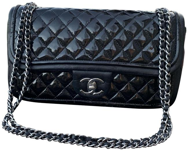 Item - Shoulder Classic Rectangular Mini 4 Grommets Black with Silver Hardware Patent W/ Lambskin Accent Cross Body Bag