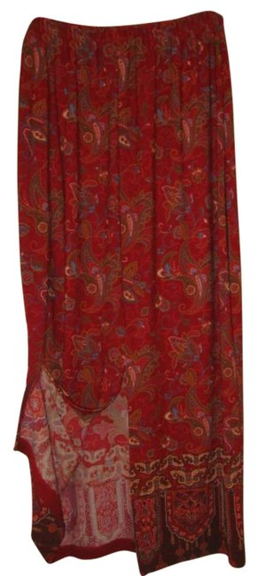 Coldwater Creek Skirt Red with Multi-colored Floral pattern