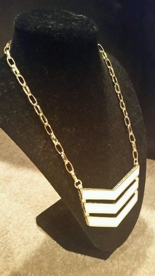 Coach COACH Runway Chevron Link Necklace White Enamel Gold Pendant NEW WITH TAGS $148.