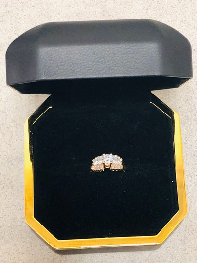 Yellow Gold Round and Baguette Diamond In 14k 1.30 Tcw Engagement Ring Image 3