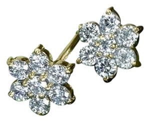 AUTHENTIC FLOWER CLUSTER DIAMOND RING EARRINGS PENDANT SET IN 14K YELLOW GOLD