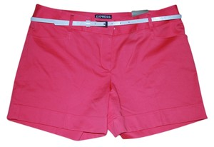 Express Skinny Belt Orange Cuffed Shorts Coral