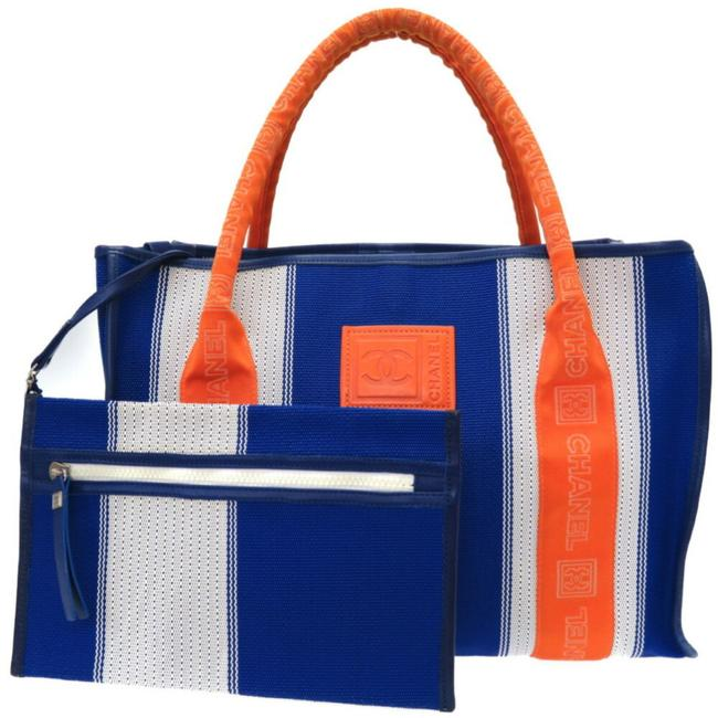 Item - Tote Bag Sports Line with Pouch 0044chanel Blue / Orange / White Nylon