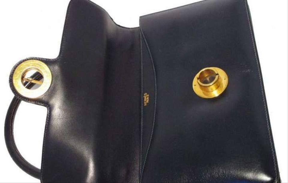 208ab51dffe3 Hermès Vintage 1960s Handbag Navy Blue Leather Satchel - Tradesy