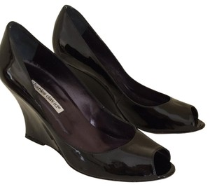 Charles David Black Patent Wedges