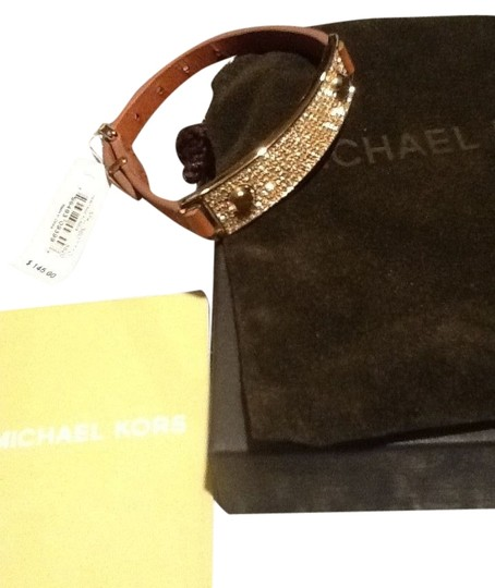 Michael Kors Michael Kors Brown Leather Gold Tone Crystal Baguettes Bracelet MKJ3607710 $145 NEW WITH TAGS