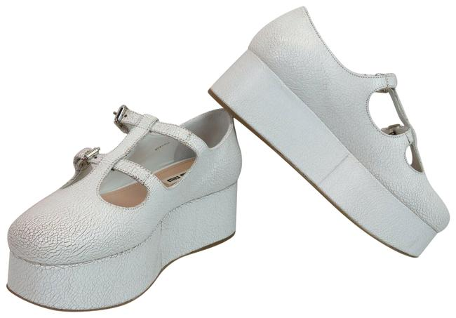 Item - White 5f861c Cracked Leather Double T Strap Ballerinas Platforms Size EU 37.5 (Approx. US 7.5) Regular (M, B)