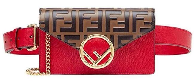 Item - Belt Ff Fanny Pack Brown Red Leather Cross Body Bag