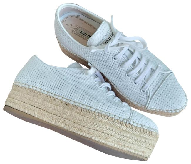 Item - White Perforated Leather Espadrille Platform Sneakers Size EU 39 (Approx. US 9) Regular (M, B)