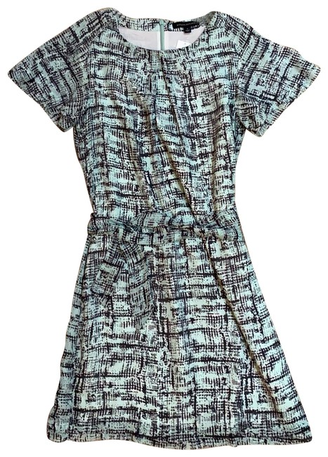 Item - Turquoise with Grey and Ivory Print Printed Tie Short Casual Dress Size 6 (S)