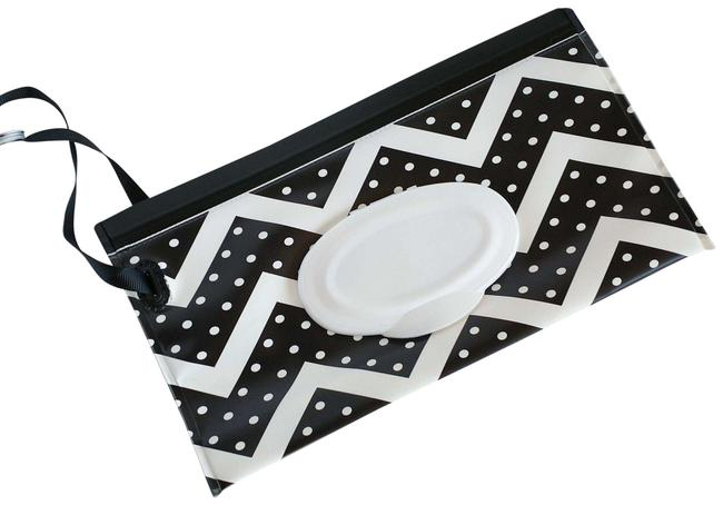 Item - Black and White Portable Refillable Wet Wipe Dispenser Case New Cosmetic Bag