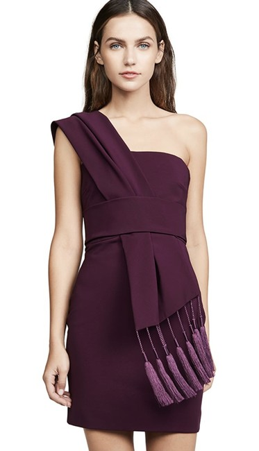 Item - Plum Fitted Mini with Scarf Detail Across Bodice Short Cocktail Dress Size 0 (XS)