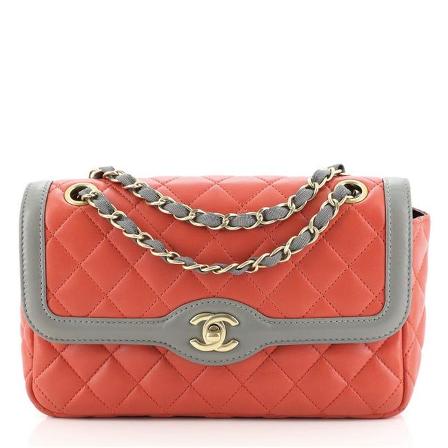 Item - Classic Flap Two Tone Quilted Lambskin Small Red Leather Cross Body Bag