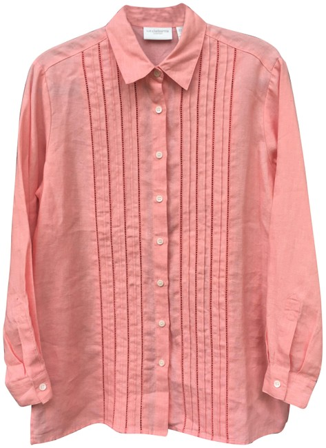 Item - Pink Carefree Linen Button-down Top Size 6 (S)