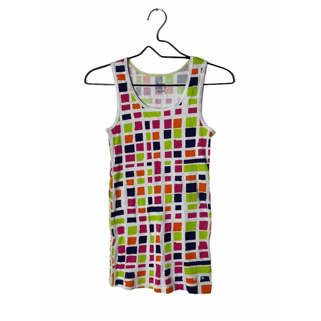 Item - White Multicolored Ribbed Cotton Medium Activewear Top Size 8 (M)