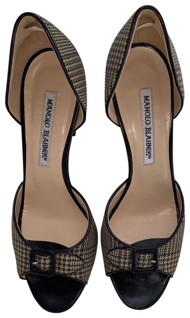 Item - Brown Tan and Black Glen Plaid D'orsay Peep-toe with Buckle Pumps Size EU 37.5 (Approx. US 7.5) Regular (M, B)