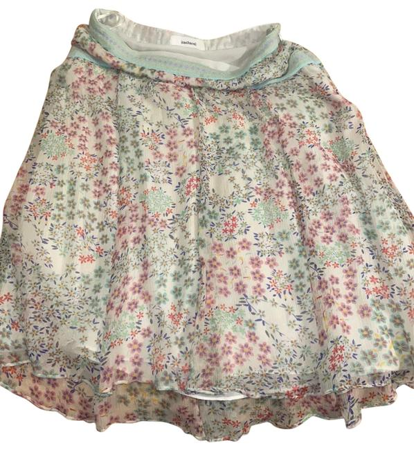 Item - Blue and White Summer Flower Layered Flowing Skirt Size 2 (XS, 26)
