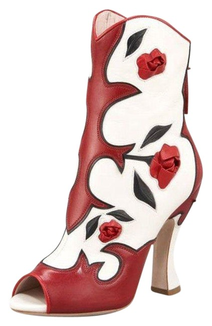 Item - White/Red Runway Rose Western Boots/Booties Size US 9.5 Regular (M, B)