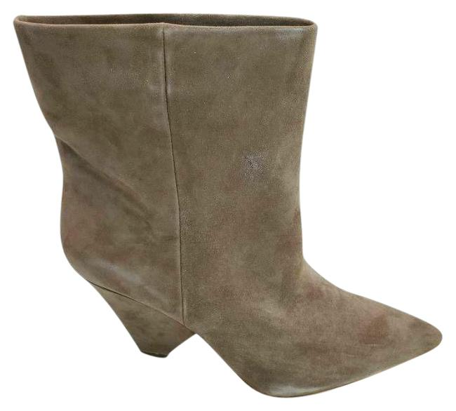 Item - Gray Womens Regina Ankle Leather Cone Heels Pull On Boots/Booties Size US 10 Regular (M, B)