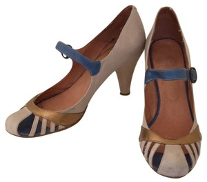 J.Crew Grey Gold Blue Pumps