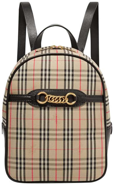 Item - Embellished and Checked Cotton-drill Beige Cotton Leather Backpack