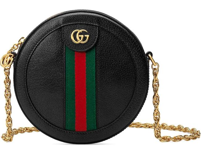 Item - Ophidia Shoulder New Round Circle Purse Black Leather Cross Body Bag