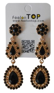 Feelon Top Gothic Created Acrylic Crystals Bijoux Black/Gold Color Water Drop Dangle Earrings