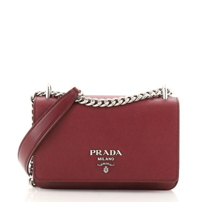 Item - Chain Flap Saffiano and Soft Calf Small Red Leather Cross Body Bag