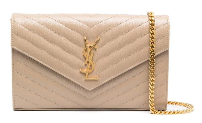 Item - Wallet Chain New Ysl Qulted Monogram Beige Leather Cross Body Bag