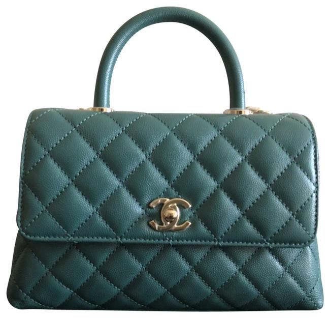 Item - Bag Coco Handle New Caviar Small/ Old Mini Flap with Receipt ( Green 21a Ghw) Leather Satchel