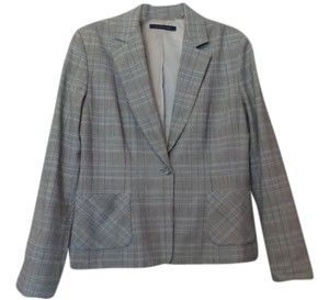 Elie Tahari Professional All Season Medium White, Black, Blue, Orange Plaid Jacket