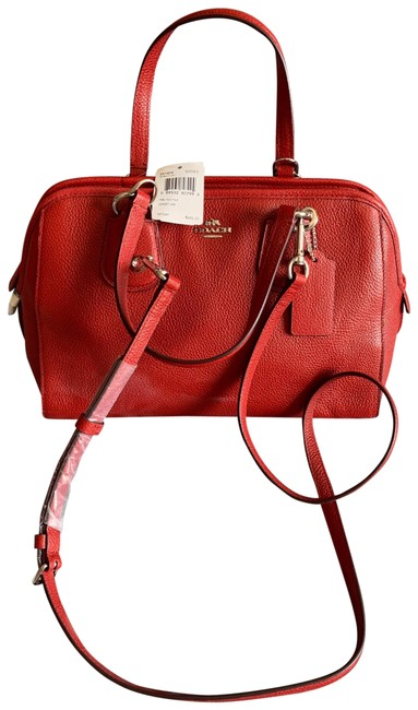 Item - Nolita Satchel In Pebble 59180) Silver/Red Red Currant Leather Cross Body Bag