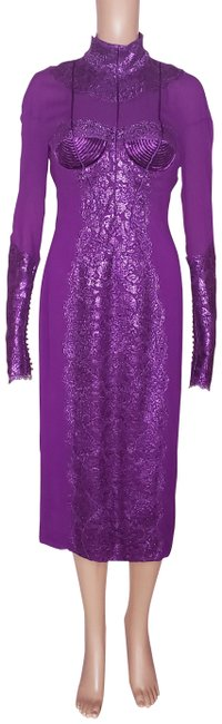Item - Violet New Metallic Amethyst Lace 40 - Mid-length Cocktail Dress Size 4 (S)